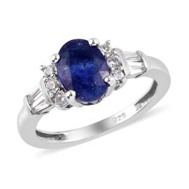 AA Masoala Sapphire and Natural Cambodian Zircon Ring in Platinum Overlay Sterling Silver 2.25 Ct.