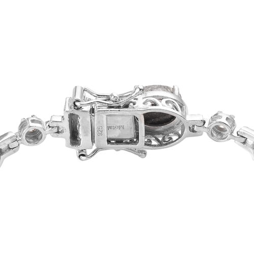 Meteorite and Natural Cambodian Zircon Bracelet (Size 7.5) in Platinum Overlay Sterling Silver 32.98 Ct.