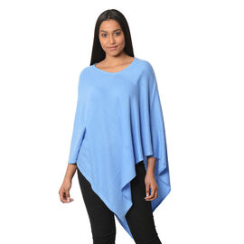 Limited Available - 100% Cashmere Pashmina Wool Poncho - Blue Colour (Free Size/90 Cm)