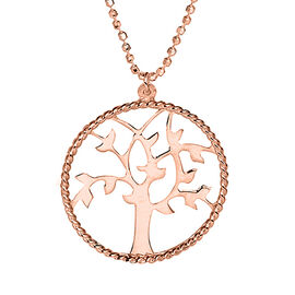 Tree of Life Necklace in Rose Gold Plated Sterling Silver 18 Inch