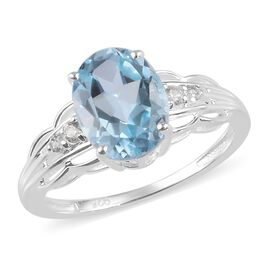 Sky Blue Topaz and Natural Cambodian Zircon Ring in Sterling Silver 2.25 Ct.
