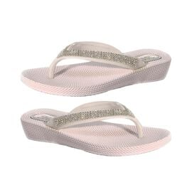 Ella Diamante Toe Post Sandals in White Colour