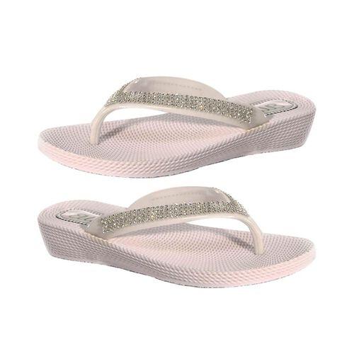 Ella Diamante Toe Post Sandals (Size 4) - White