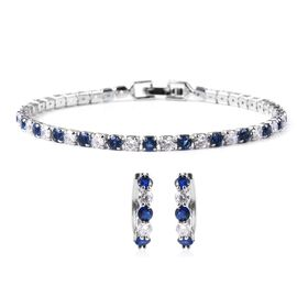 2 Piece Set Simulated Diamond and Simulated Blue Sapphire Hoop Earrings and Tennis Bracelet 7 Inch