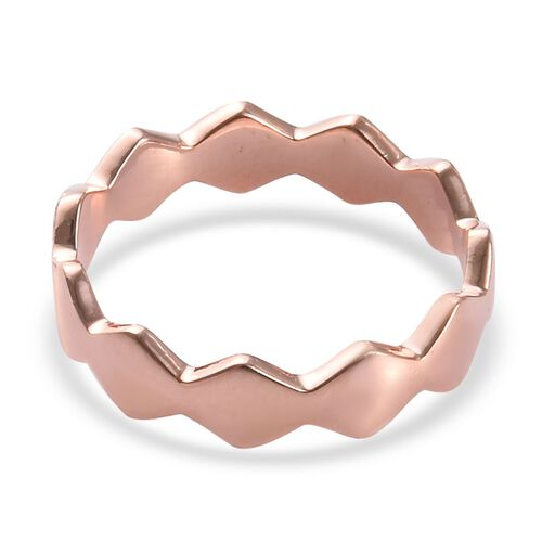 Rose Gold Overlay Sterling Silver Wavy Band Ring