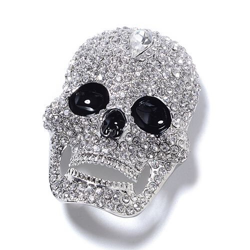 Close Out Deal - Simulated White Diamond (Pear), White Austrian  Crystal Enameled Skull Brooch in Silver Plated.
