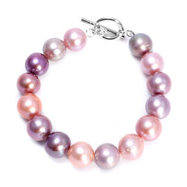 Multi Colour Edison Pearl Bracelet with T-Bar Lock (Size 7) in Rhodium Overlay Sterling Silver