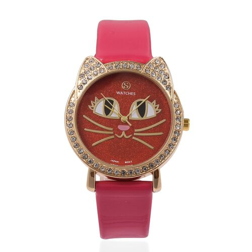 STRADA Japanese Movement White Crystal Studded Water Resistant Kitty Face Red Stardust Dial Watch wi