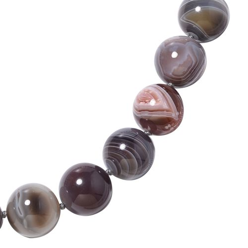 Extremely Rare Botswana Agate (Rnd 15-17 mm) Necklace (Size 20) in Rhodium Overlay Sterling Silver 1645.000 Ct.
