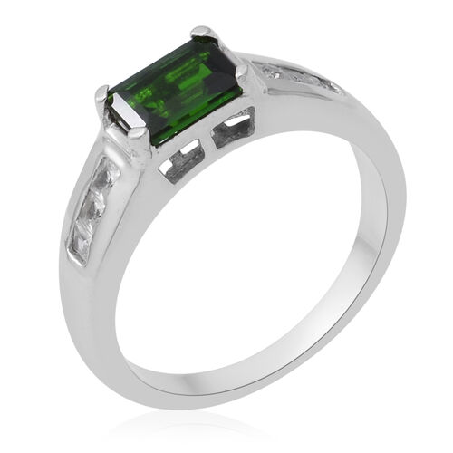 Russian Diopside and Natural Cambodian Zircon Ring in Sterling Silver 1.30 Ct.