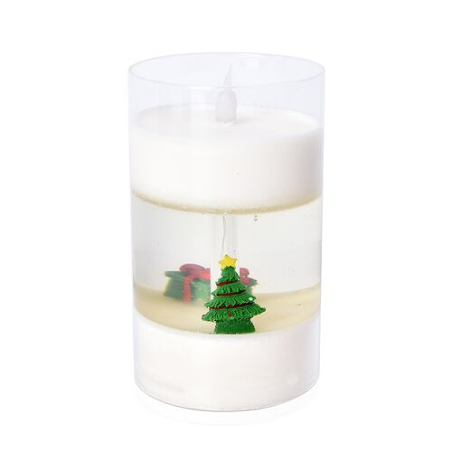 Flameless Glass Cup Candle Displayed Christmas Tree and Present - White, Green and Red (3xAAA Batteries not Included)