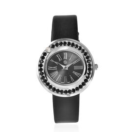 STRADA Japanese Movement Black and White Austrian Crystal Studded Water Resistant Watch with Black S