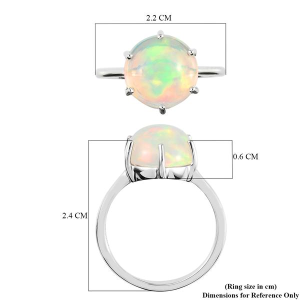 RHAPSODY 950 Platinum AAAA Ethiopian Welo Opal Solitaire Ring 3.57 Ct.