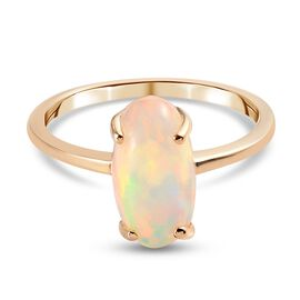 9K Yellow Gold AA Ethiopian Welo Opal Solitaire Ring 1.90 Ct.