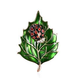 White Austrian Crystal Enamelled Ladybug Leaf Brooch in Gold Tone