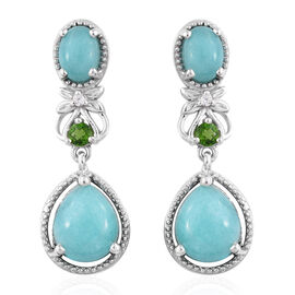 6.25 Ct Brazillian Amazonite and Multi Gemstone Drop Earrings in Sterling Silver 4.76 Grams