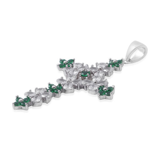 ELANZA Simulated Emerald (Pear and Rnd),Simulated Diamond Cross Pendant in Sterling Silver