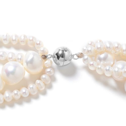 Freshwater White Pearl (10x8 mm) Necklace (Size 18) in Rhodium Overlay Sterling Silver