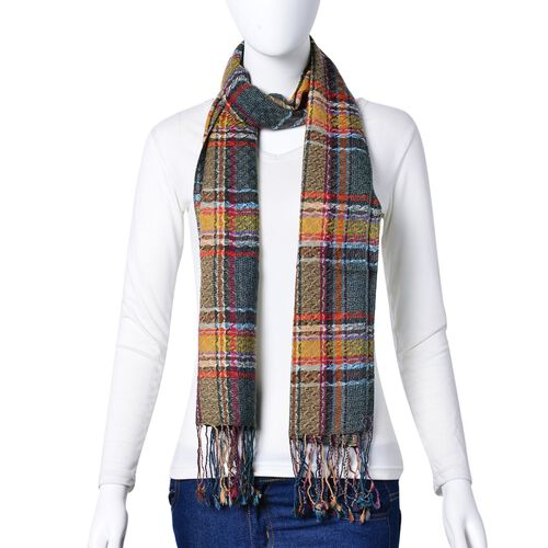 100% Wool Grey, Orange and Multi Colour Checks Pattern Scarf with Tassels (Size 170X47 Cm)