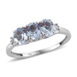 9K White Gold AA Espirito Santo Aquamarine (Ovl), Diamond Ring 1.00  Ct.