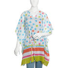 Summer Special - White, Blue and Multi Colour Stars Printed Kaftan (Free Size)