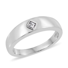 RHAPSODY 950 Platinum IGI CERTIFIED Diamond (Sqr) (VS/ E-F) Band Ring 0.150 Ct.