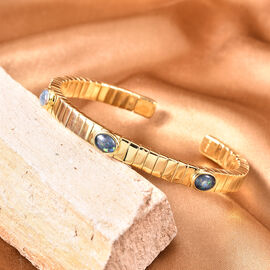 GP Tubo Gas Collection- Australian Boulder Opal and Blue Sapphire Bangle (Size 7.5) in Yellow Gold Overlay Sterling Silver Silver wt. 32.20 Gms