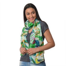 100% Mulberry Silk Scarf (Size:100X100 Cm) - Green and Multi