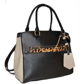 Close Out Deal- Designer Inspired - 2 Piece Handbag Set in Leopard Print with Removable Strap- Stone
