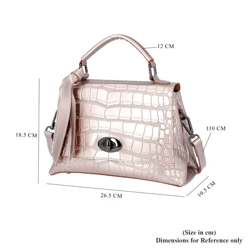 100% Genuine Leather Croc Embossed Satchel Bag with Detachable Shoulder Strap (Size 26.5x10.5x18.5 Cm) - Pink