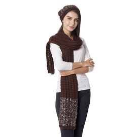2 Piece Set - Brown and Silver Colour Hat (Size 23 Cm) and Scarf (Size 190x35 Cm)