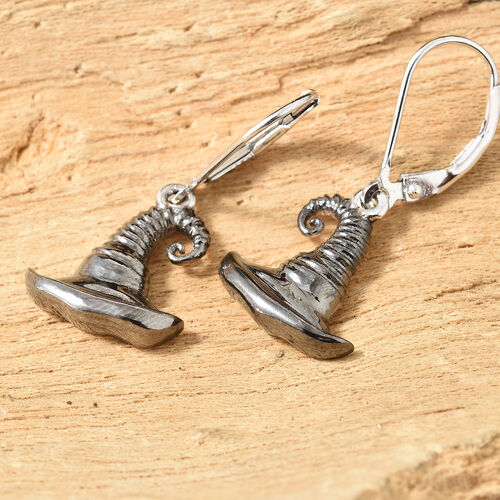Platinum Overlay and Black Plating Sterling Silver Sorting Hat Earrings (With Lever Back), Silver wt: 4.69 Gms.