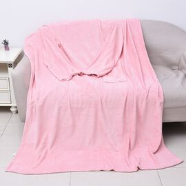 Soft Coral Fleece TV Blanket with Sleeves and Pocket (Size 140x180 Cm) - Baby Pink Colour