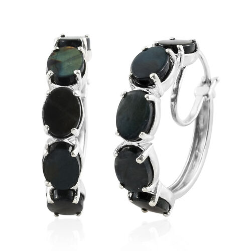 Natural Spectrolite (Ovl) Hoop Earrings (with Clasp) in Platinum Overlay Sterling Silver 9.750 Ct. Silver wt 7.30 Gms.