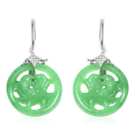 44.88 Ct Green Jade and Simulated Diamond Love Bird Couple Earrings in Rhodium Plated Silver