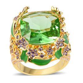Designer Inspired- Simulated Peridot (Cus 16x16mm) and Simulated Amethyst Ring in Gold Plated