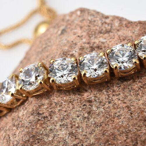 J Francis - 14K Gold Overlay Sterling Silver (Rnd) Adjustable Bracelet (Size 6.5 to 9) Made with SWAROVSKI ZIRCONIA