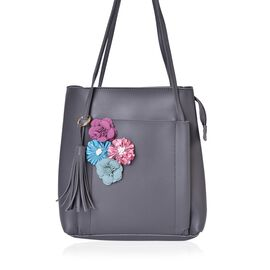 Handcrafted 3D Flowers Embellished Grey Colour Tote Bag with Tassel Charm (Size 26.5X25X11.5 Cm)