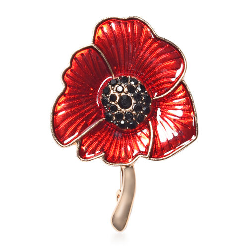 TJC Poppy Design - Black Austrian Crystal Enamelled Brooch and Pendant with Chain (Size 24) in Yello
