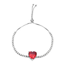 ELANZA Simulated Ruby (Hrt 12x12 mm),Simulated Diamond Bolo Bracelet (Size 6.5 - 8.5 Adjustable) in