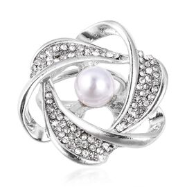 TJC Launch-Simulated Pearl (Rnd), White Austrian Crystal Scarf Ring in Silver Plated