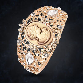 Simulated Dimaond, White Austrian Crystal and Cameo Bangle (Size 6.5) in Gold Tone