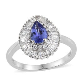 RHAPSODY 950 Platinum AAAA Tanzanite (Pear), Diamond (VS/E-F) Ring 1.050 Ct, Platinum wt 5.31 Gms.