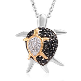 1/4 Carat Boi Ploi Black Spinel, Natural Cambodian Zircon Mother Tortoise with Baby Pendant with Chain (Size 18) in Platinum and Gold Plated Silver