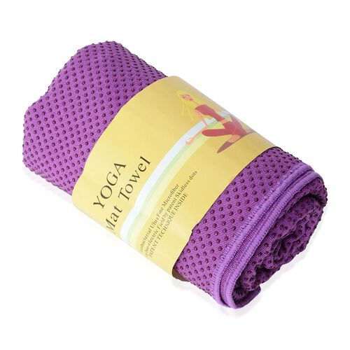 Purple Yoga mat Towel with Anti Slip Mechanism