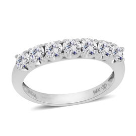 New York Close Out 1 Carat Diamond 5 Stone Ring in 14K White Gold 2.9 Grams I2 GH