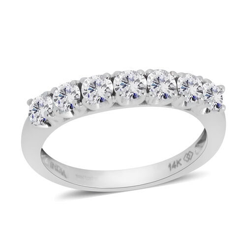 New York Close Out 1 Carat Diamond 7 Stone Ring in 14K White Gold 2.9 Grams I2 GH