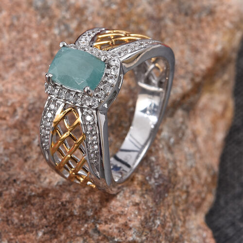GP Grandidierite (Cush), Natural Cambodian Zircon and Blue Sapphire Ring in Platinum and Yellow Gold Overlay Sterling Silver 1.25 Ct.