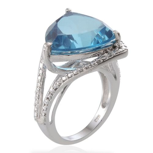 River Quartz (Trl 10.25 Ct), Diamond Ring in Platinum Overlay Sterling Silver 10.260 Ct.