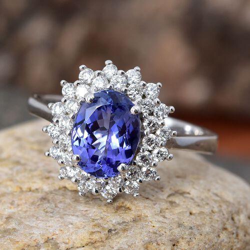 ILIANA 2 Carat AAA Tanzanite and Diamond (SI/G-H) Halo Ring in 18K White Gold